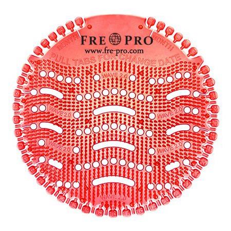 Kör formájú, piros színű piszoár szűrő