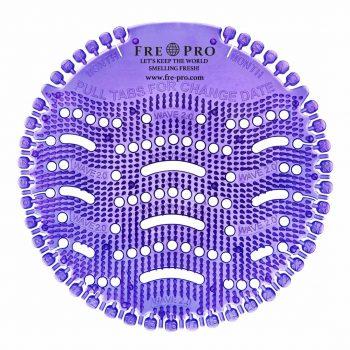 Kör formájú, lila színű piszoár szűrő
