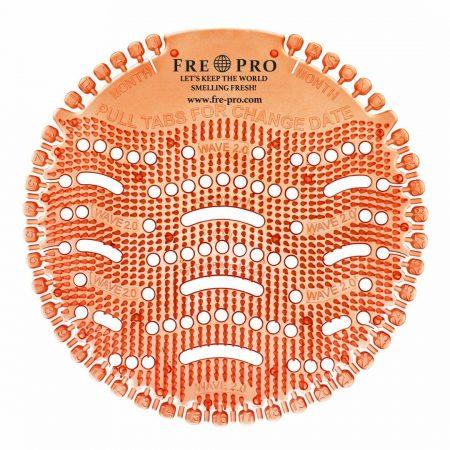 Kör formájú, narancssárga színű piszoár szűrő