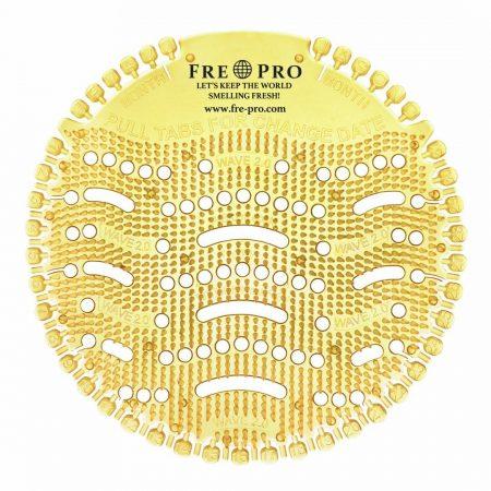 Kör formájú, sárga színű piszoár szűrő