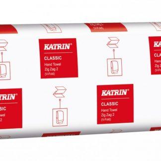 Katrin Classic Zig Zag 2 V hajtogatott kéztörlő, 2 rétegű, fehér, 100% újrahasznosított