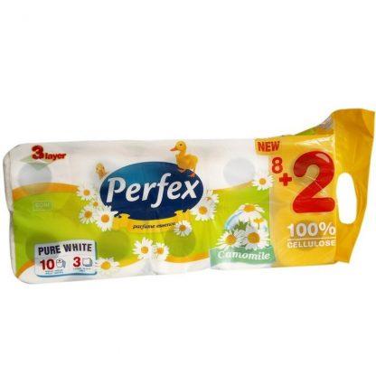 Perfex Pure White háromrétegű kamilla illatú kistekercses toalettpapír